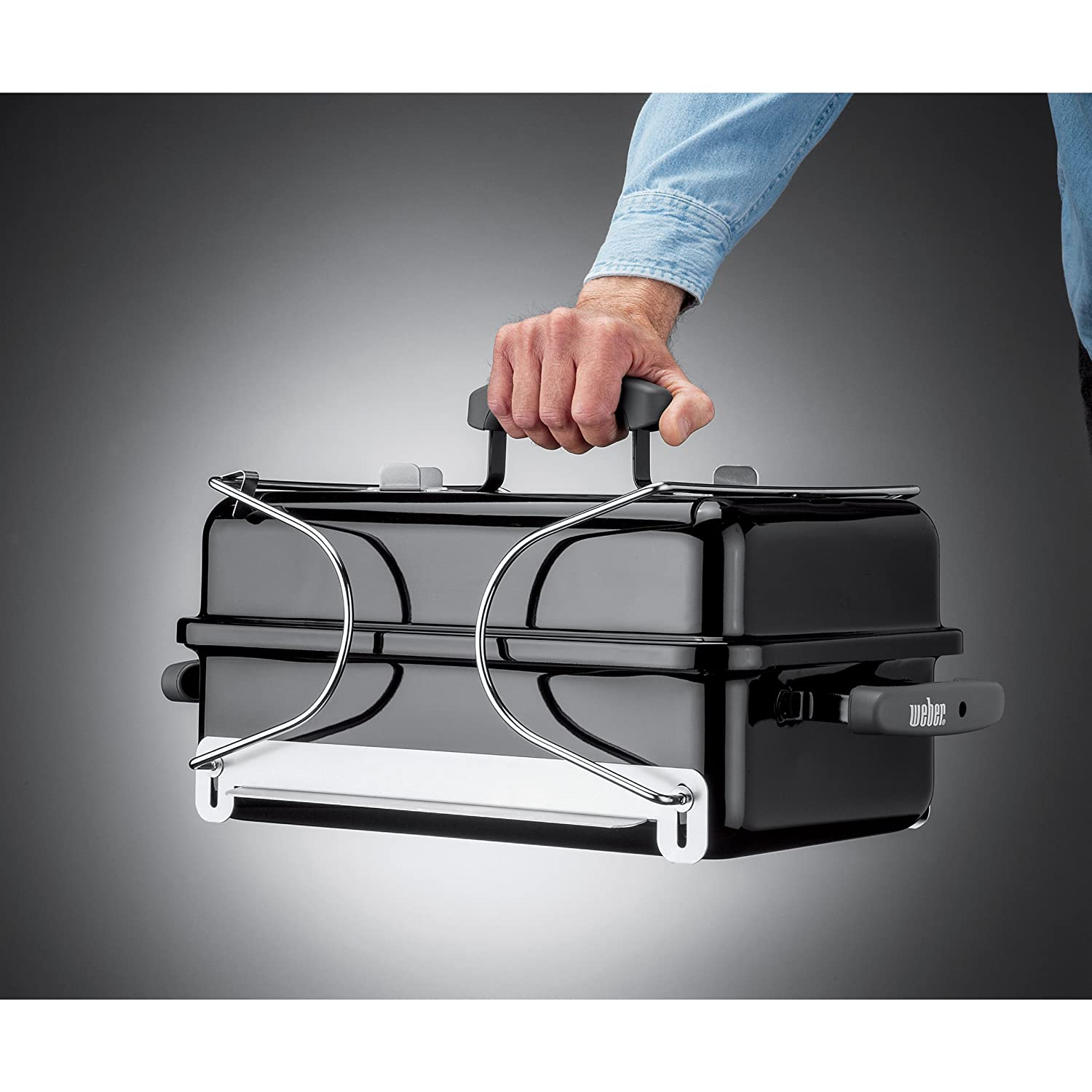 The Weber Go-Anywhere folded up and ready to go into the trunk!