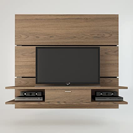 Ellington 1.0 Entertainment Center Tv Stand with Chocolate / Pro Touch Finish Offers an Organized Space for Your Tv and Accessories. The Ellington Comes with Built-in Brackets to Conveniently Hang Your Tv Without Damaging the Walls. One Center Drawer with