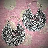 Mandala White Brass Earrings Hangers Ear Gauges Piercing Jewelry