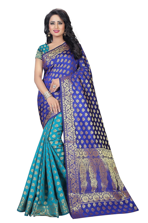 Vatsla Enterprise Women's Cotton silk Saree (VSAMURAI002BLUE_BLUE)