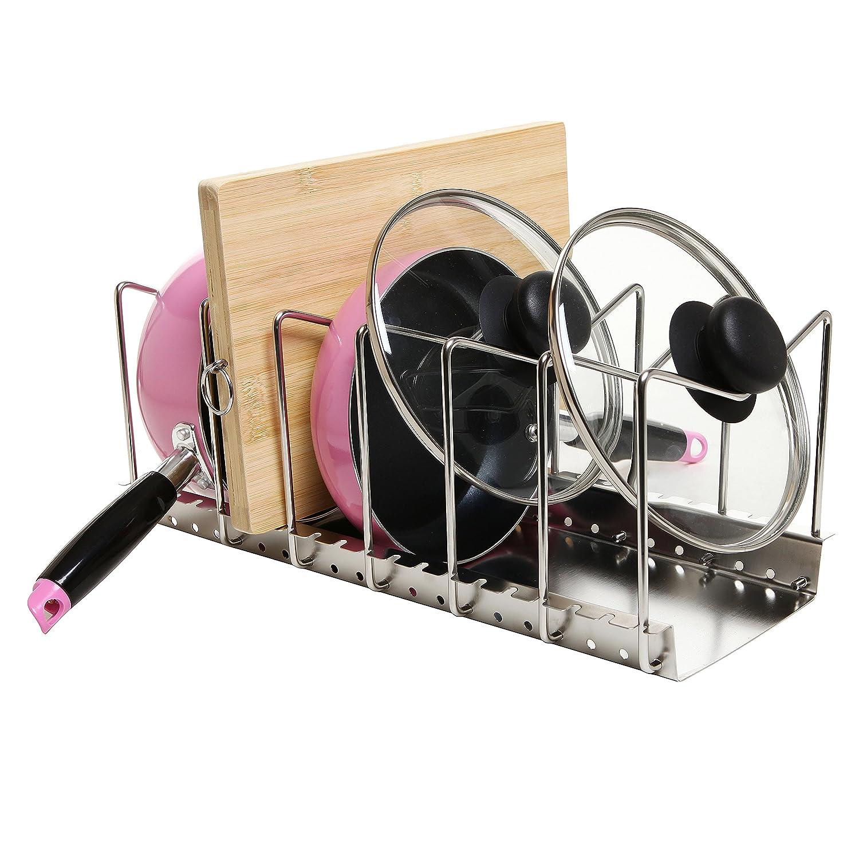 pan pot lid rack holder kitchen new organizer storage stainless steel adjustable ebay. Black Bedroom Furniture Sets. Home Design Ideas
