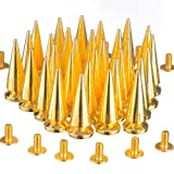 RUBYCA 25MM 100 Sets Large Metal Big Tree Spikes and Studs Metallic Screw-Back for DIY Leather-Craft Gold Color (Color: Gold, Tamaño: 100 PCS)