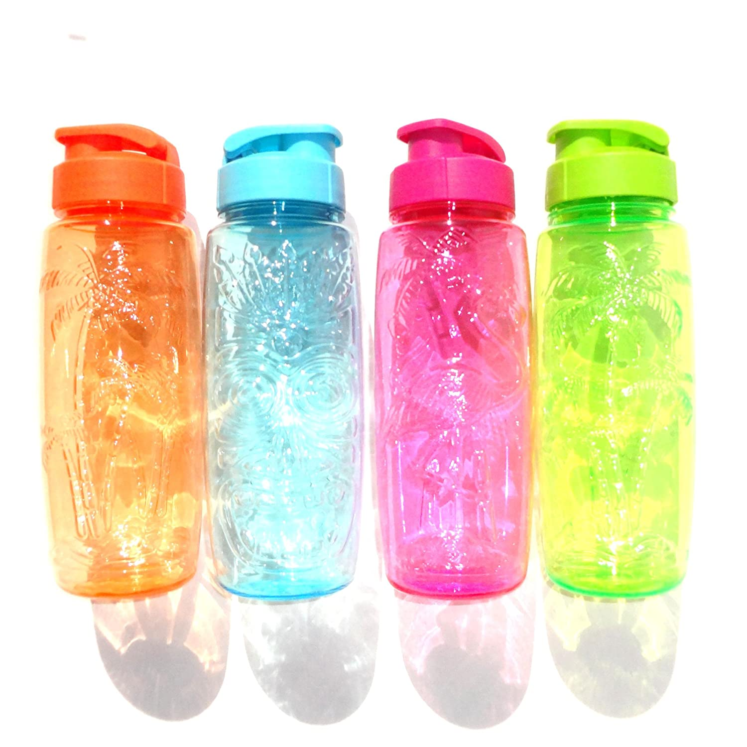 Plastic Acrylic Tumbler Sports Bottle with Flip Top - Luau Theme Set of 4