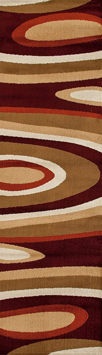 """Rugshop Abstract Contemporary Modern Area Rug Runner, 2 x 72"""", Burgundy"""