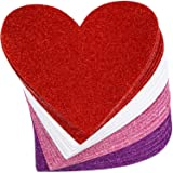 24 Piece 6 Inches Heart Foam Stickers Large Heart Shaped Stickers Self Adhesive Heart Stickers for Valentine Mother's Day DIY Craft, 4 Colors (Glitter Pink, Glitter Red, Glitter White, Glitter Purple) (Color: Glitter Pink, Glitter Red, Glitter White, Glitter Purple)