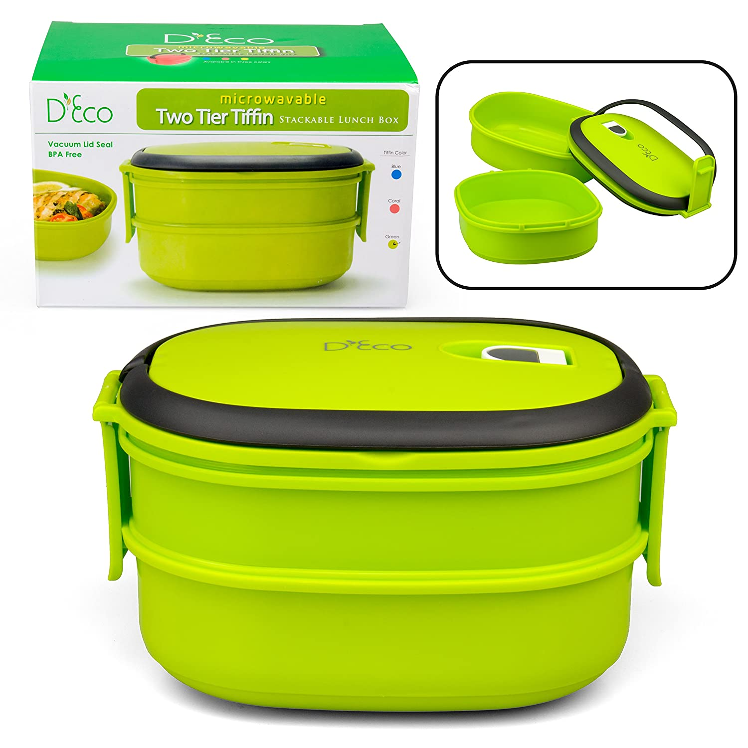 Microwavable Lunch Box- Stacking Two Tier Tiffin with Vacuum Seal Lid