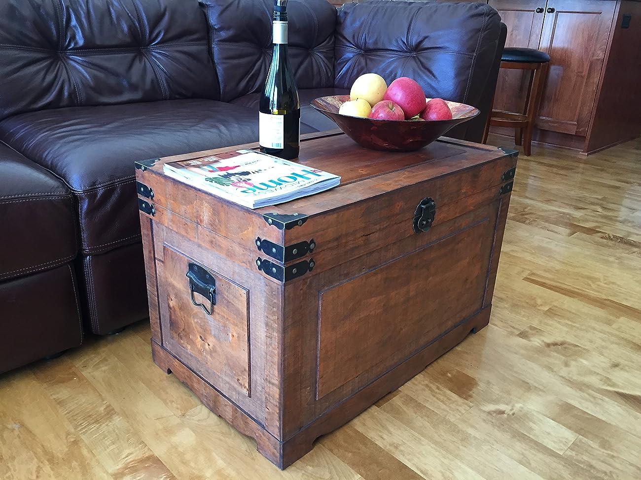 Newport Large Wood Storage Trunk Wooden Treasure Chest - Walnut 1