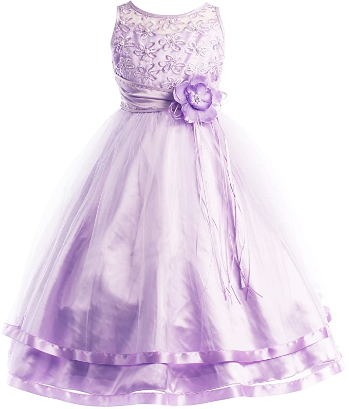 Colors Communion Flower Girl Pageant Illusion Ribbon Tulle Dress