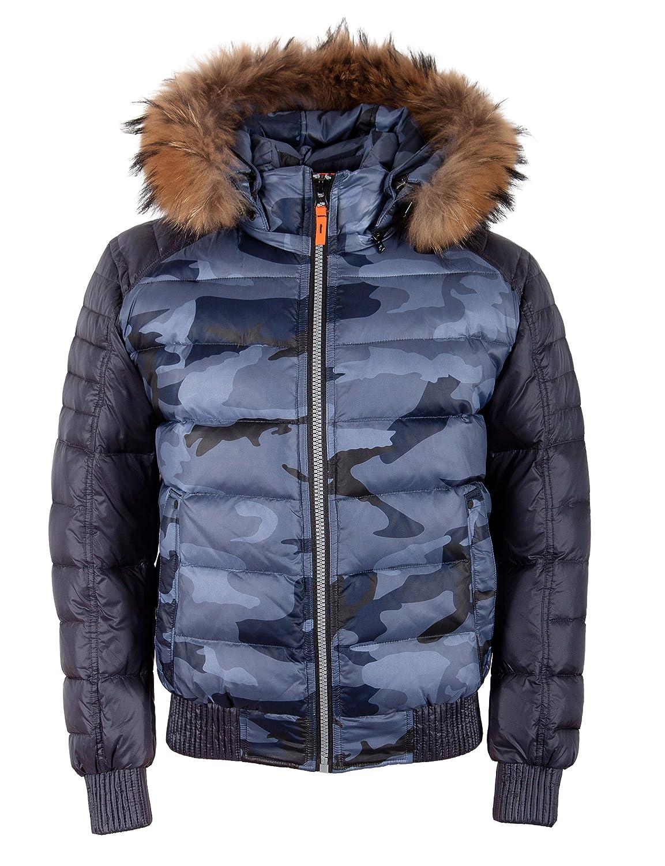 """A8165 Herren DAUNENJACKE """"TARORE"""" mit ECHTFELLKAPUZE blau camouflage online kaufen"""