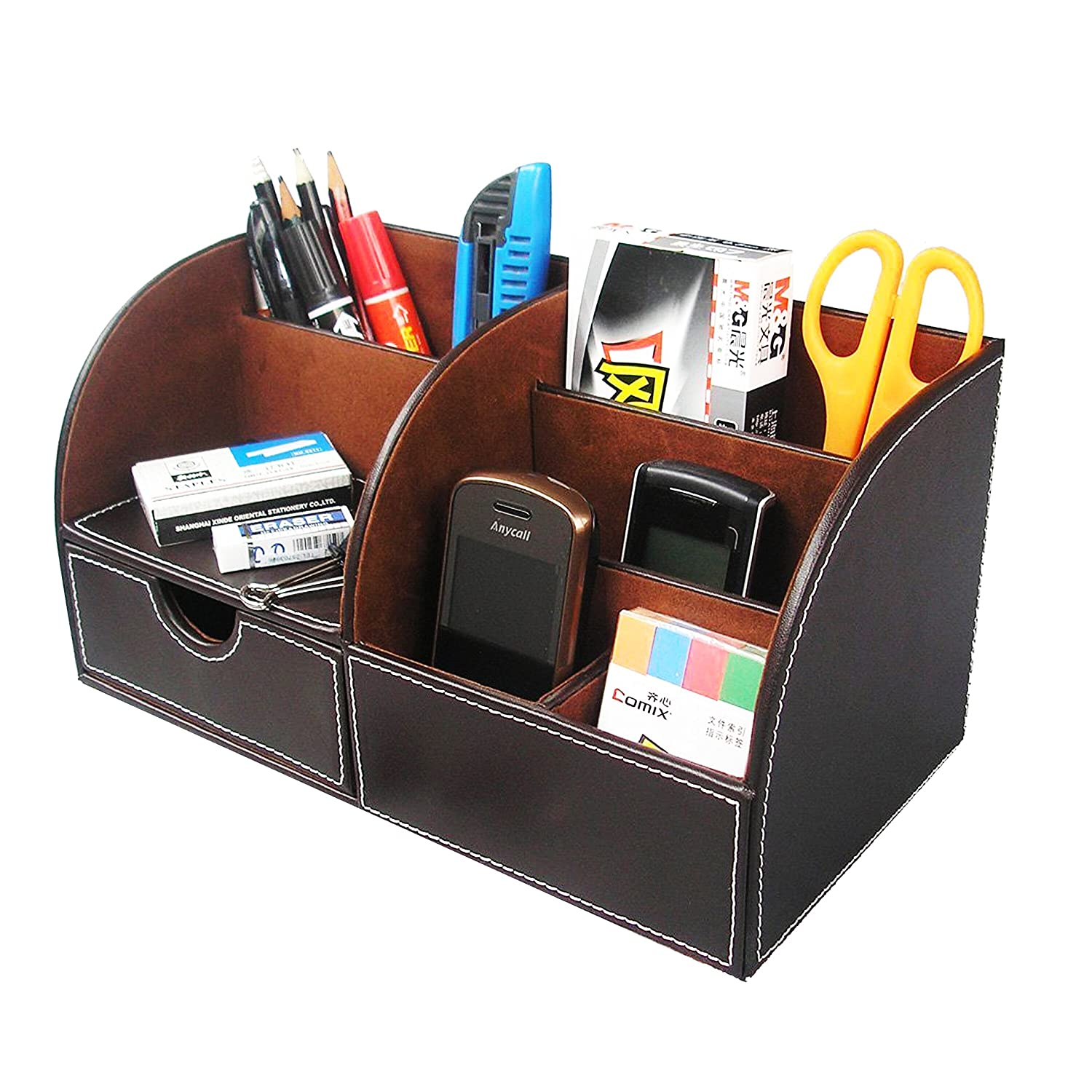 HOMETEK™ 7 Storage Compartment Multifunctional PU Leather Desk Organizer Desktop Organizer Card/Pen/Pencil/Mobile Phone/Remote Control Holder Caddy Office Supplies Desktop Stationery Storage Box (Brown)