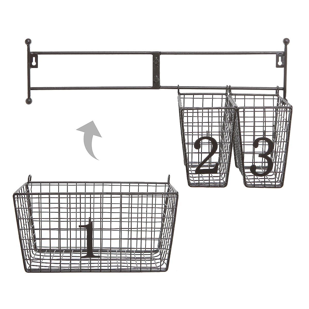 Wall Mounted Black Metal Wire Mesh Numbered Storage Basket Set / Multipurpose Accessory Organizer Rack