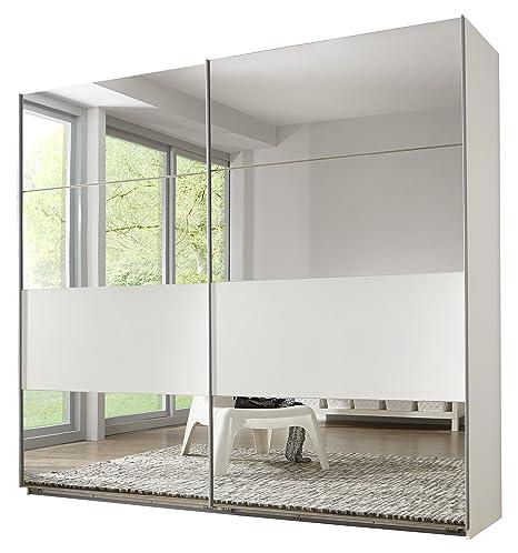 Wimex 488794 Schwebeturenschrank 225 x 210 x 65 cm, Felder variabel positionierbar, Spiegel, alpinweiß