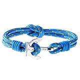 Wind Passion Premium Anchor Blue Bracelet Durable Nautical Rope Cuff Wristband for Men Women, XX-Large Size (Color: Blue Lagoon, Tamaño: XX-Large ( Wrist size: 8.44 - 9.21 inch ))