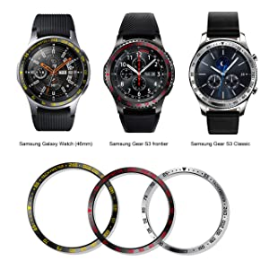 BaiHui Compatible Galaxy Watch Bezel Ring 46mm / Galaxy Gear S3 Frontier & Classic Bezel Ring,Stainless Steel Bezel Ring Protection Cover for Galaxy Watch Accessory (04-Silver) (Color: 04-Silver)