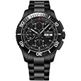 Alexander Vanquish Olyn Mens All Black Stainless Steel Watch Day Date Tachymeter Chronograph - Screw Down Crown Swiss Made Analog Automatic Diver Watch A420-02 - Alexander Automatic Watches For Men