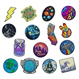 RipDesigns - Large Assorted Set of 15 Aesthetic, Cute and Cool Outdoors Iron On Patches for Jackets Backpacks Jeans and Clothes | Each Embroidered Patch is Durable and Sticks to All Fabrics (Set 2) (Color: Set 2)