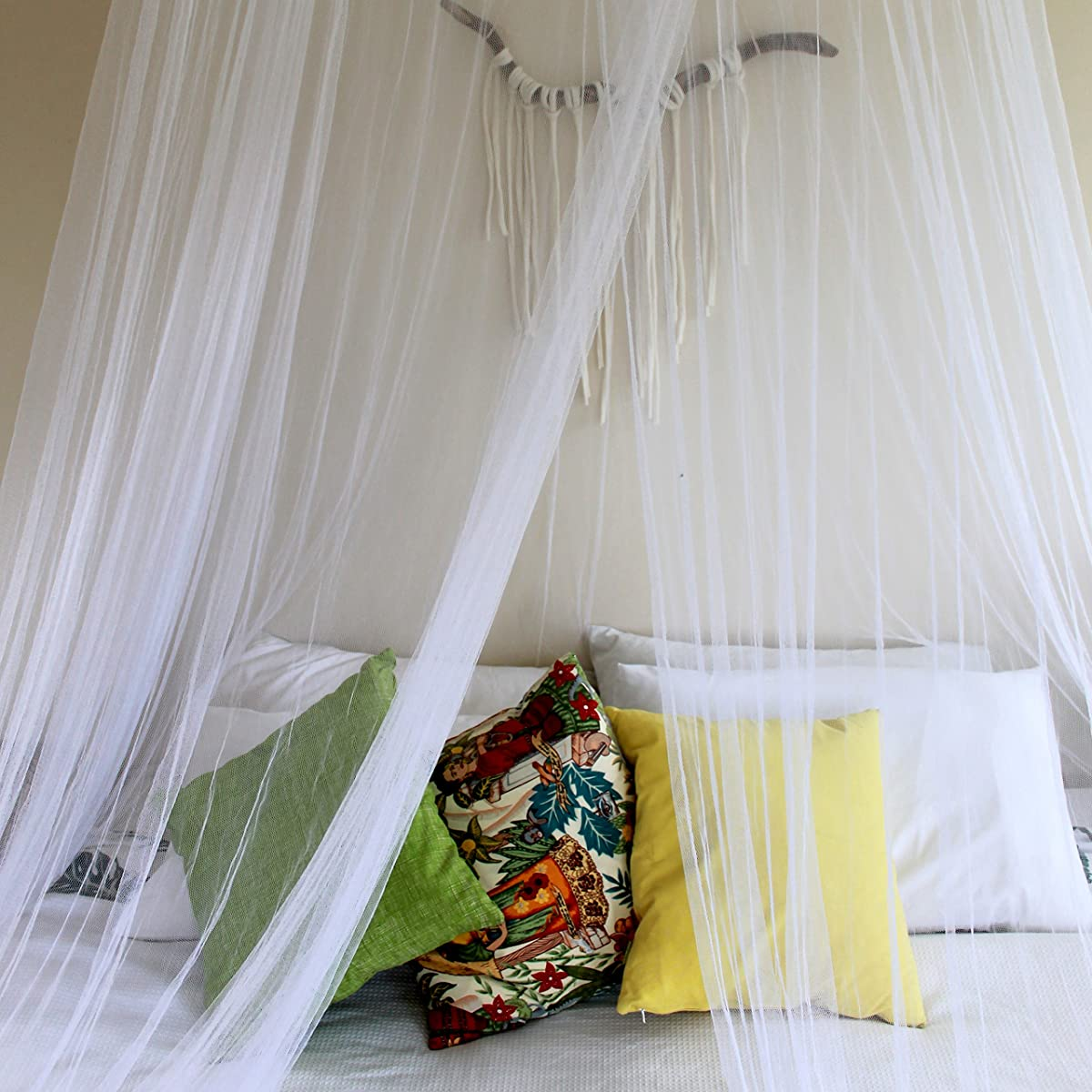 Boho & Beach Luxury Mosquito Net Bed Canopy +3 Bonus Hanging Decorative Gifts, Glamorous & Classy Design with Eco-Friendly Bamboo Expandable Top - Queen, Full or Twin Bed, Indoor/Outdoor Use