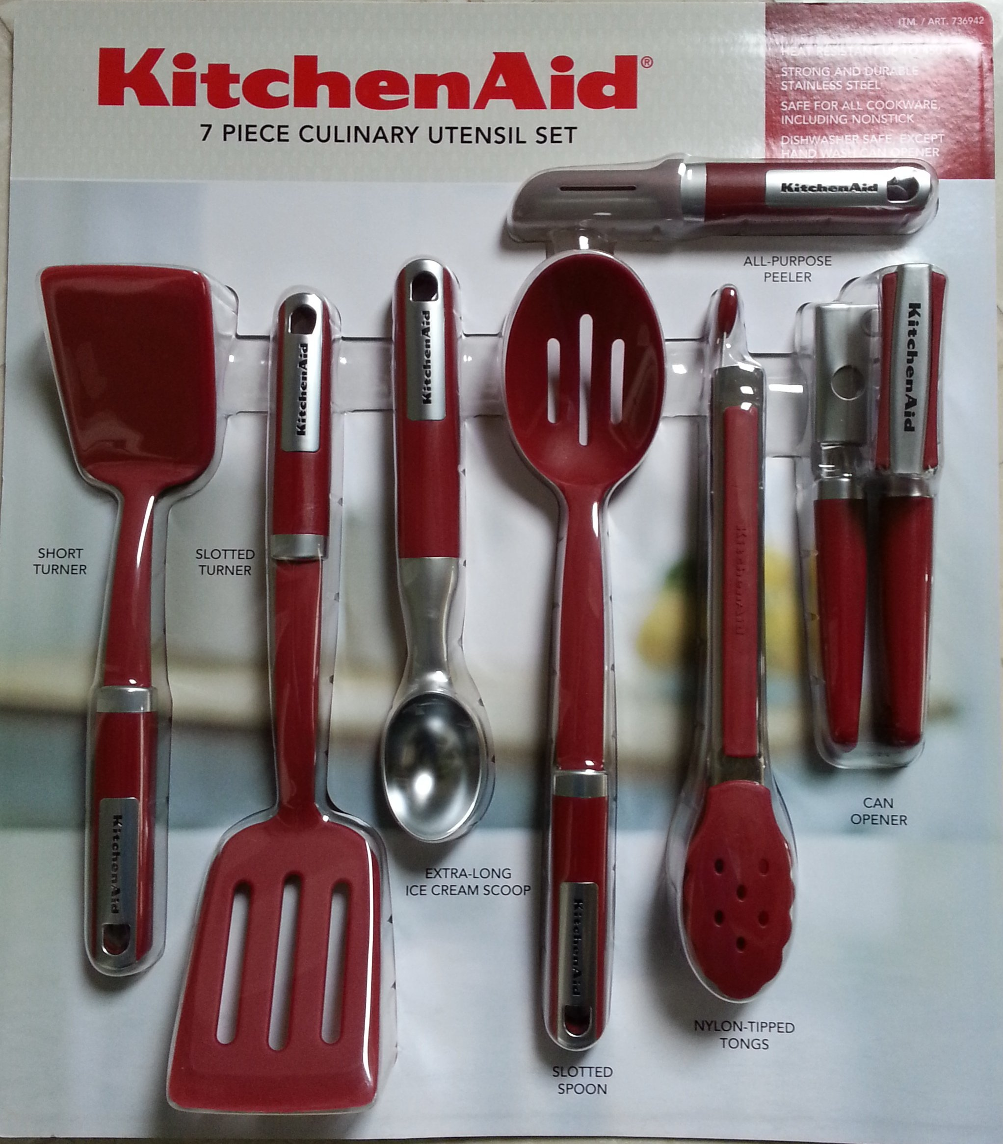Kitchenaid cook 39 s 7 piece culinary utensil set red red for Kitchenaid 6 set