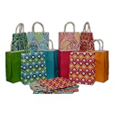 Assorted bright color Kraft paper gift bags, medium, set of 16 bags, 8