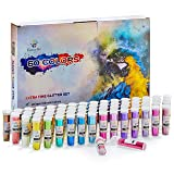 Extra Fine Glitter Set of 60 Vibrant Colors | Color Powder in Leak-Proof Shaker Jars (0.32oz/9g) | Arts & Crafts Glitter Kit Glows Under UV Light | Use for Projects, Slime, Nails, Body, Face & More