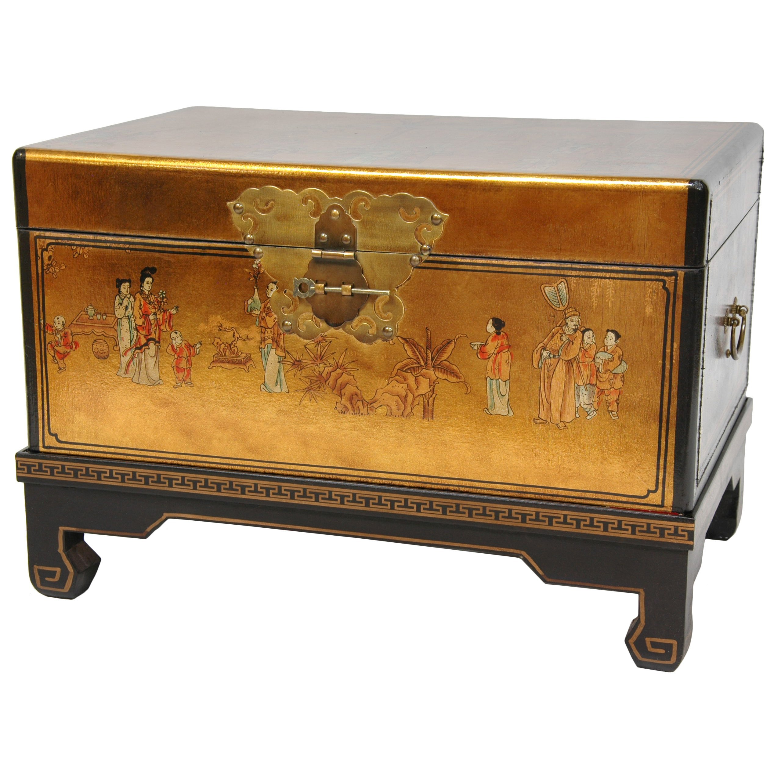Beau Oriental Furniture Hand Painted Asian Decor 26 Inch Gold Leaf Small Trunk  Oriental Hope Chest