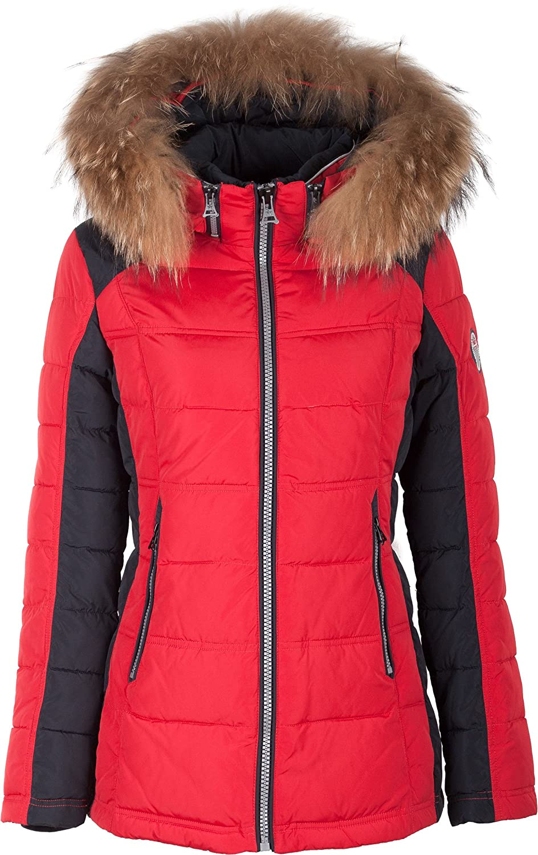 "5M99 Damen Winterjacke Skijacke in Daunen-Optik ""TARORE"" mit Echtfellkapuze rot / blau günstig kaufen"