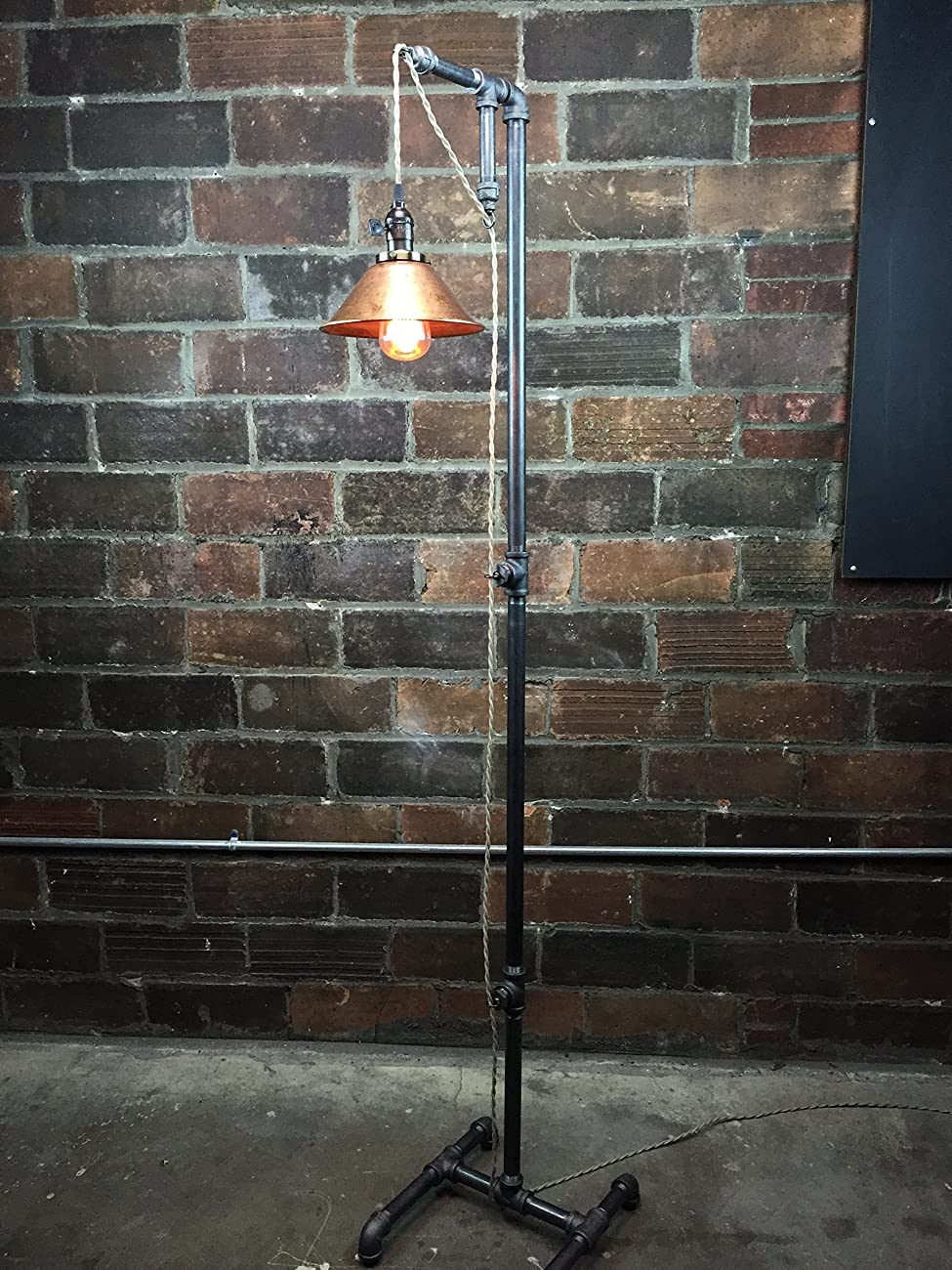 Industrial Style Floor Lamp - Pendant Edison Bulb - Copper Shade 5