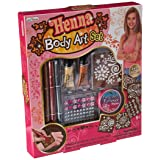 Hot Focus Henna Body Art Jewels Art Set with deep red, silver and gold tattoo pens; reusable stencils; 2 shimmer body paint