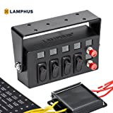 LAMPHUS SWBX42 LED Backlit Switch Box [4x 25A ON/OFF Rocker Switches] [2x Momentary Switches] [Adjustable Swivel Bracket] - Perfect for Police, Firefighter, or Construction Vehicles