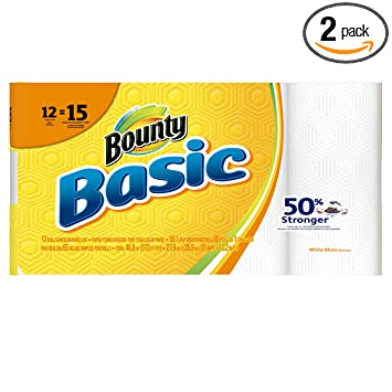 Bounty Basic Paper Towels, White, 12 Count (Pack