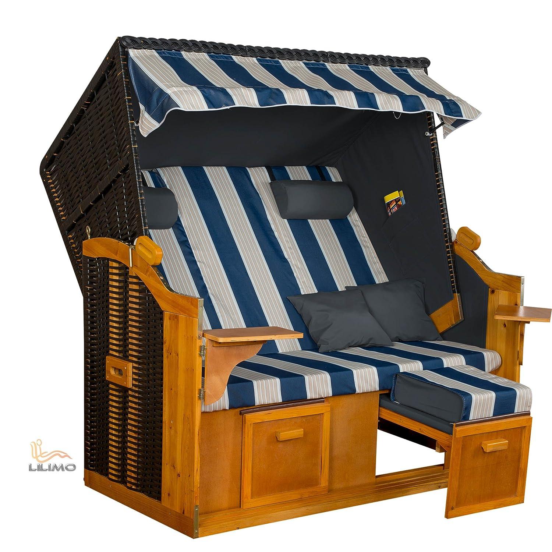 Strandkorb BALTIC-R BLW XXL, anthrazit, blau-weiß-grauer gestreifter Bezug, von LILIMO günstig kaufen