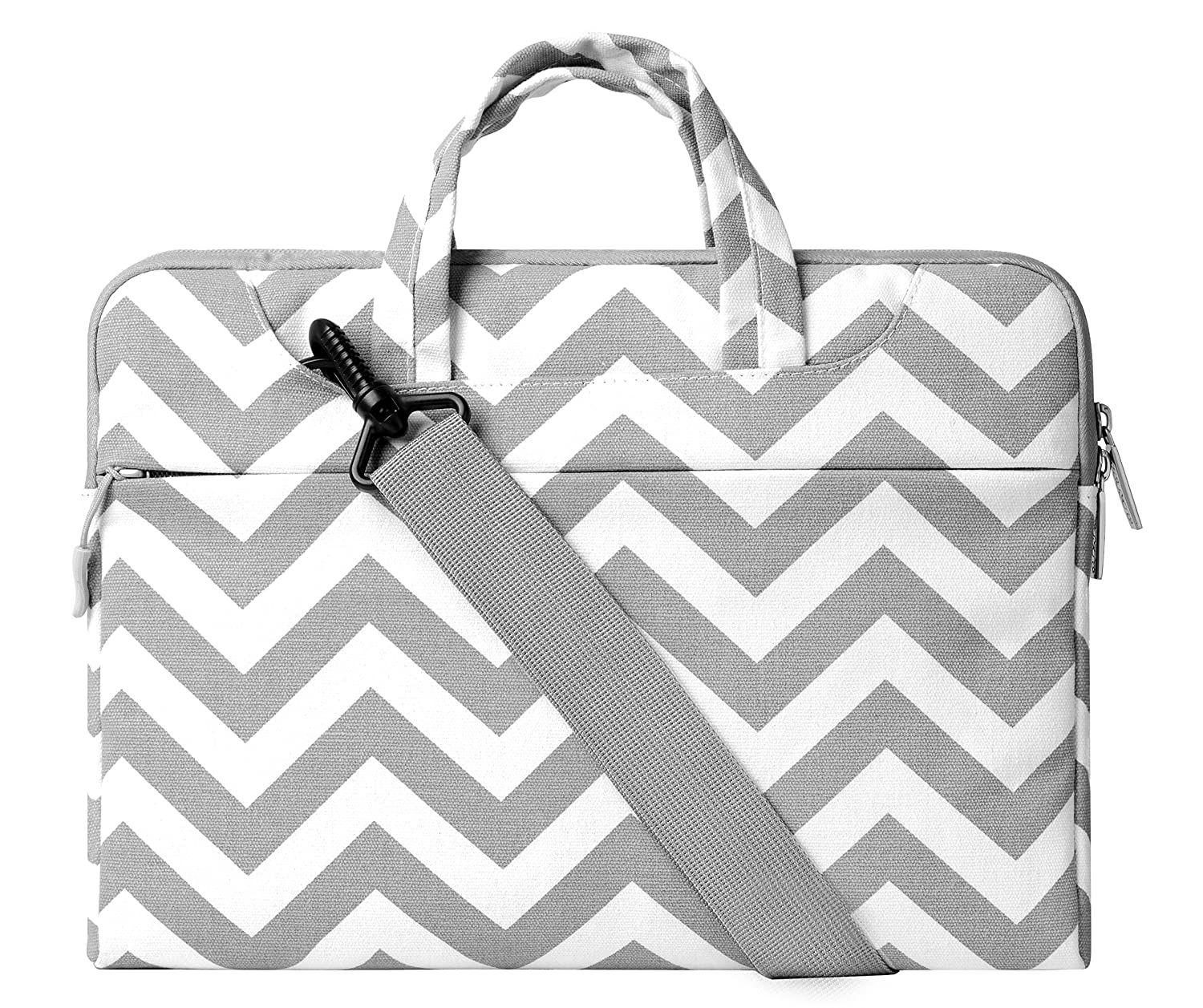 Laptop Shoulder Bag / Briefcase, Mosiso Chevron Gray Canvas Fabric Carrying Case Bag for 12.9 iPad Pro / 13.3 Inch Laptop / Notebook Computer / MacBook Air / MacBook Pro, Chevron Gray