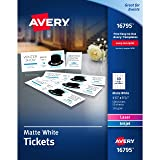 Avery Matte White Printable Tickets with Tear-Away Stubs, 1-3/4