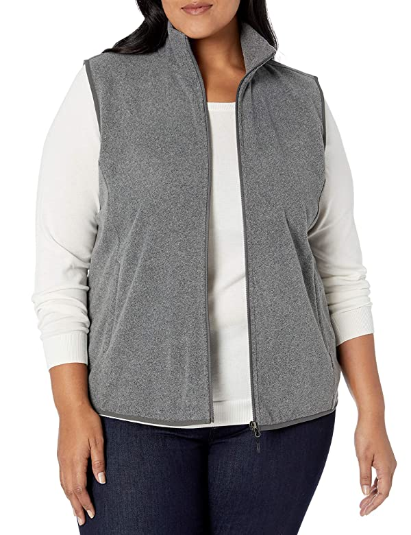 Essentials Womens Plus Size Full-Zip Polar Fleece Vest