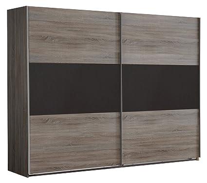 Wimex 929806 Schwebeturenschrank, 270 x 210 x 65 cm, Front und Korpus Montana Eiche Nachbildung / Absetzung lavafarbig