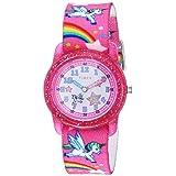 Timex Girls TW7C25500 Time Machines Pink/Rainbows & Unicorns Elastic Fabric Strap Watch (Color: Pink/Rainbows & Unicorns)