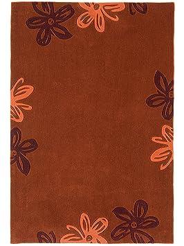 benuta tapis de salon moderne moderne frame flower pas cher orange orange 90x150 cm. Black Bedroom Furniture Sets. Home Design Ideas