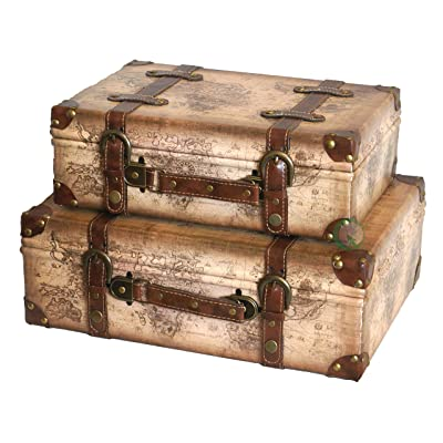 Vintiquewise (TM) Old World Map Leather Antique Style Suitcase with Straps, Set of 2