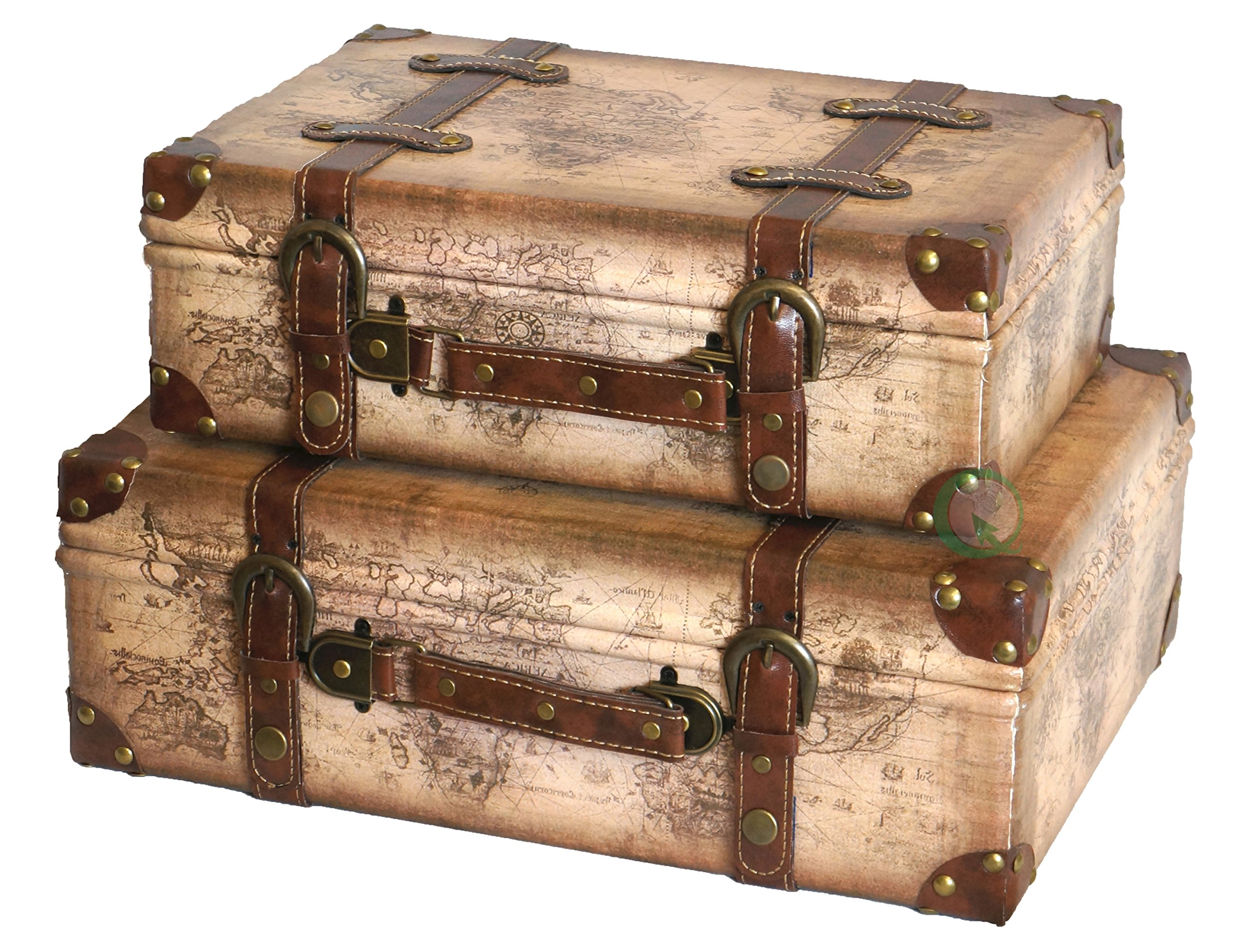 Vintiquewise Tm Old World Map Leather Vintage Style Suitcase With Straps Set Of 2