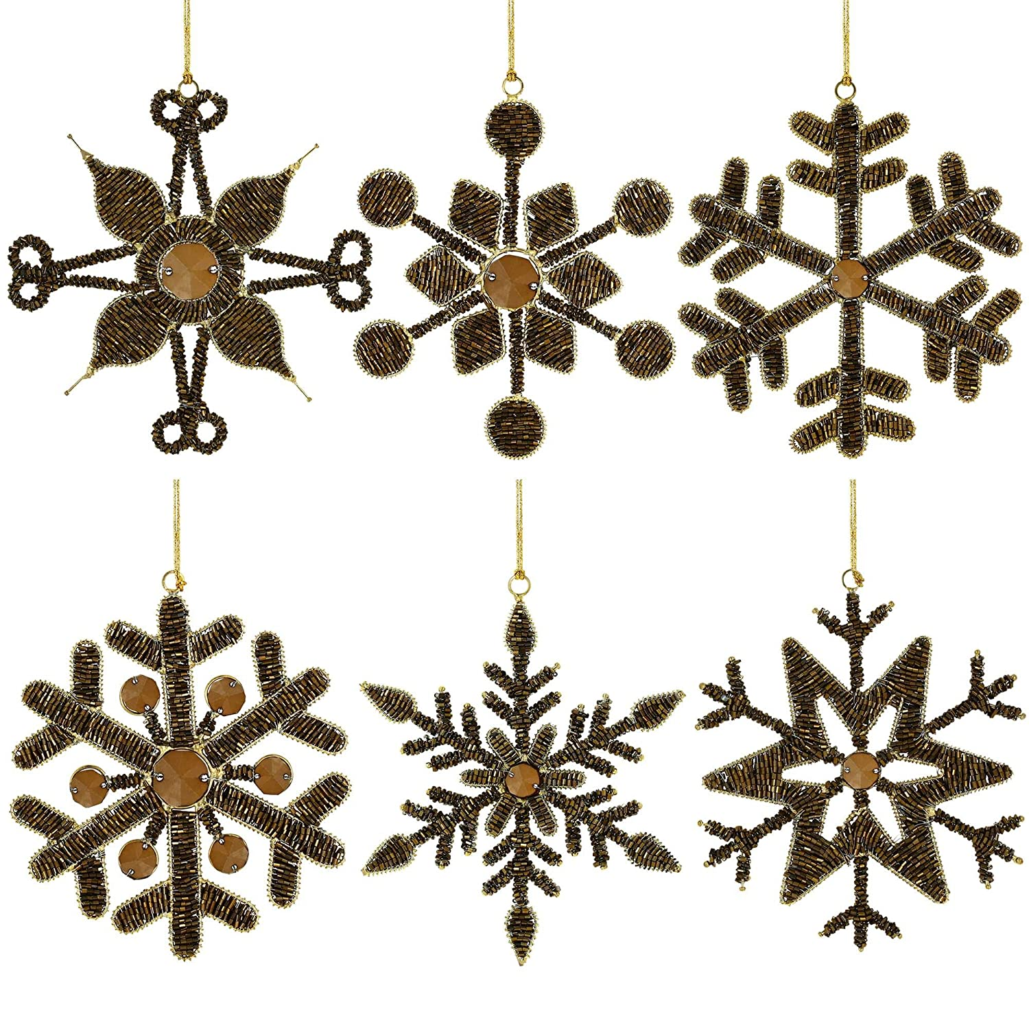 Plastic ornament hangers - 5 Sets Of 6 6 Handmade Golden Snowflake Iron And Glass Pendant Party Ornaments 6 Inches Each Gifts Set Include Six Different Party Ornaments Festive