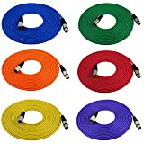 GLS Audio 25ft Mic Cable Cords - XLR Male to XLR Female Colored Cables - 25' Balanced Mike Cord - 6 PACK (Color: Red, Green, Blue, Yellow, Orange, Purple)