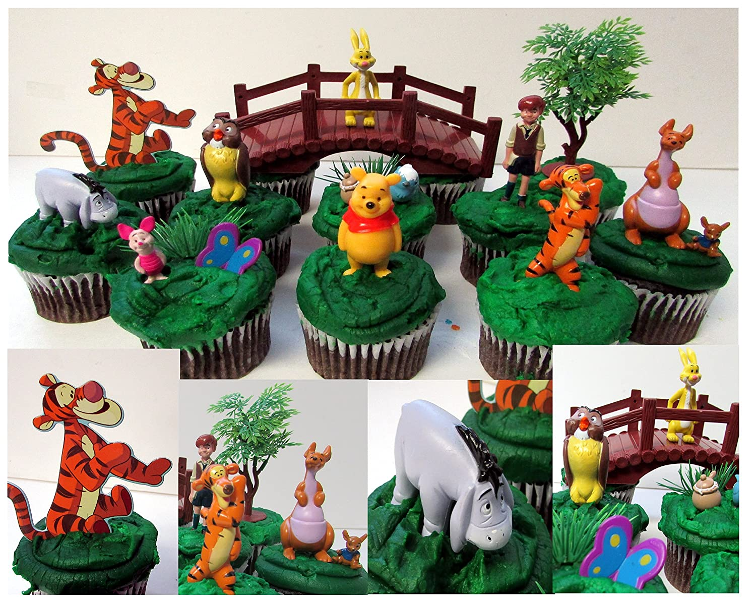 Winnie the Pooh Cupcake Topper Set Featuring Piglet, Tigger, Eeyore, and Twelve Other Characters