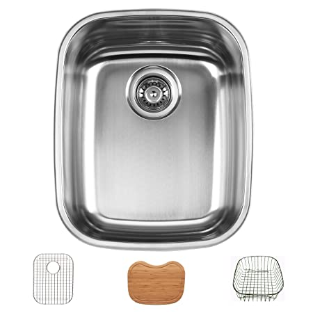 Ukinox D376.8.GCRB Modern Undermount Single Bowl Stainless Steel Kitchen Sink with Bottom Grid, Cutting Board & Rinsing Basket