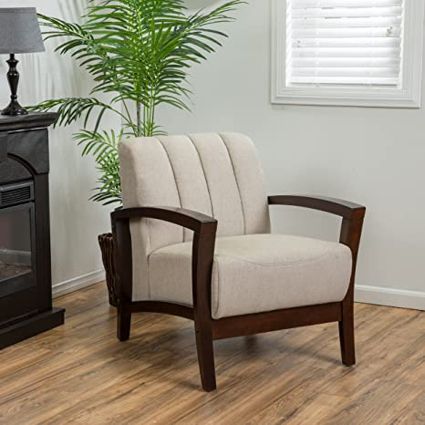 Alexander Taupe Fabric & Wood Armchair