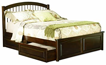 Windsor Full Platform Bed with Raised Panel Footboard, Antique Walnut with 4 Raised Panel Bed Drawers