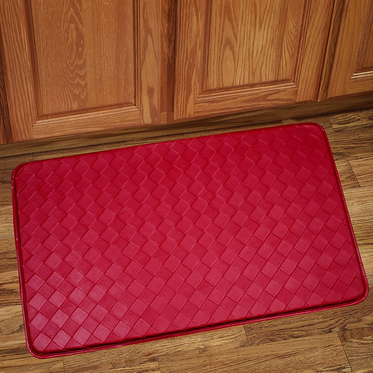 """Sweet Home Collection Memory Foam Anti Fatigue Kitchen Floor Mat Rug, Diamond Red, 30"""" x 18"""""""
