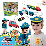 Kids DIY Water Fuse Non Iron Super Beads for Boys Arts and Crafts Toy Set. Boys Indoor Activity Fun Project City Traffic Crafts Kit for Boy. Birthday Gift Age 4 5 6 7 8 9 Year Old Boy Present Perler (Color: Hot Pink, Light Pink, Deep Green, Soft Green, Yellow, Soft Blue, Brown, Purple, Orange, White, Blac, Tamaño: Gift)