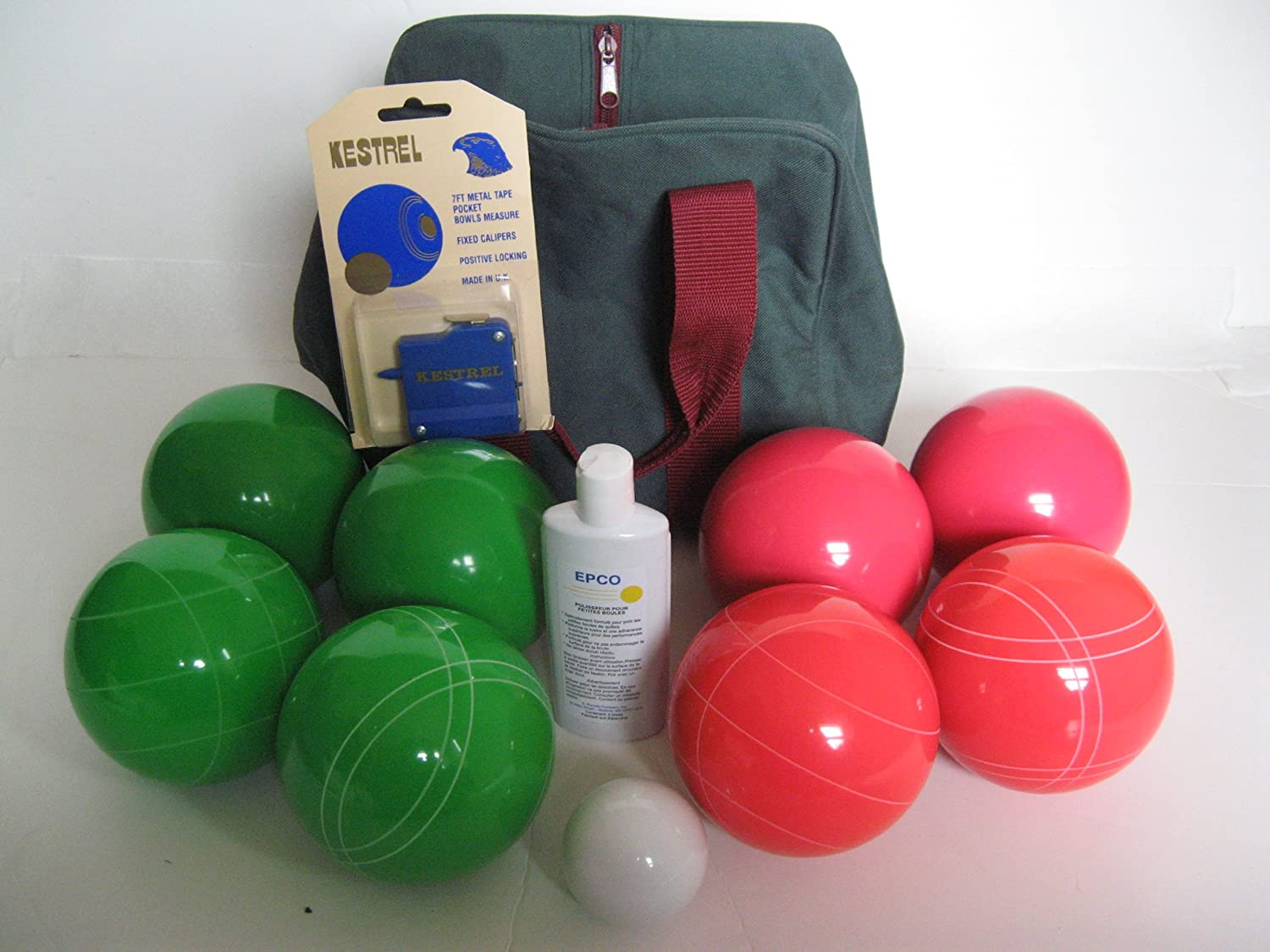 Premium Quality Basic EPCO Bocce package - 107mm Green and Light Red balls, q...