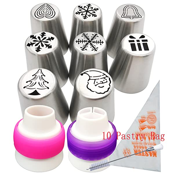 Russian Icing Piping Tips set Christmas Design for Cakes Cupcakes Cookies - 21pcs set Cake Decorating Pastry Baking Tools Kits 7pcs Icing Nozzles-2 Coupler - 10 Disposable Pastry Bags (Chirstmas Tips) (Color: Chirstmas Tips)