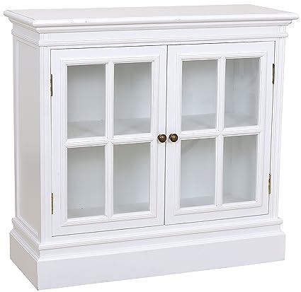 My flair meridian commode avec 2 portes en verre style maison de campagne blanc